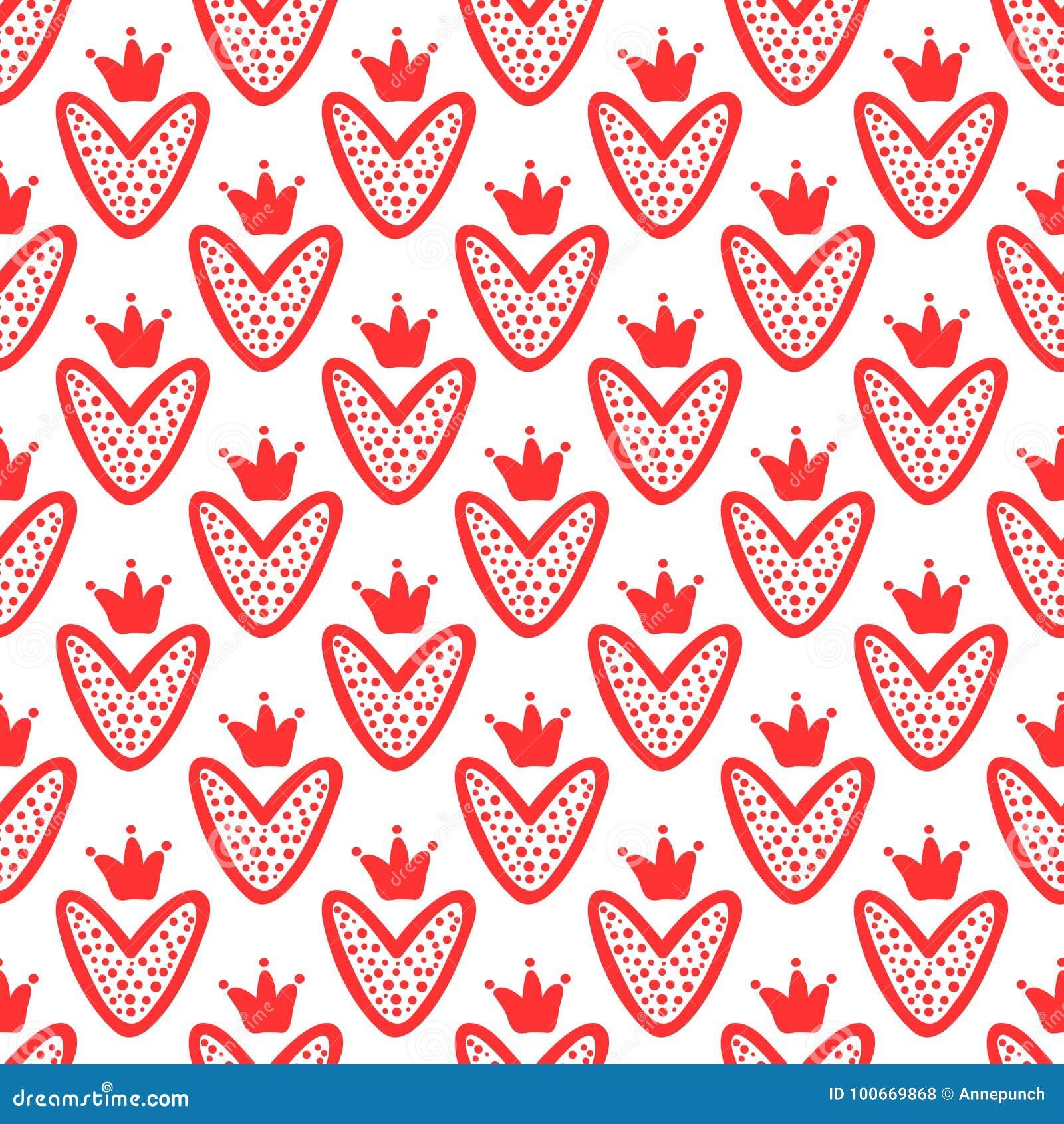 Coeurs avec des couronnes dessinées à la main Configuration sans joint mignonne Croquis, griffonnage, graffiti
