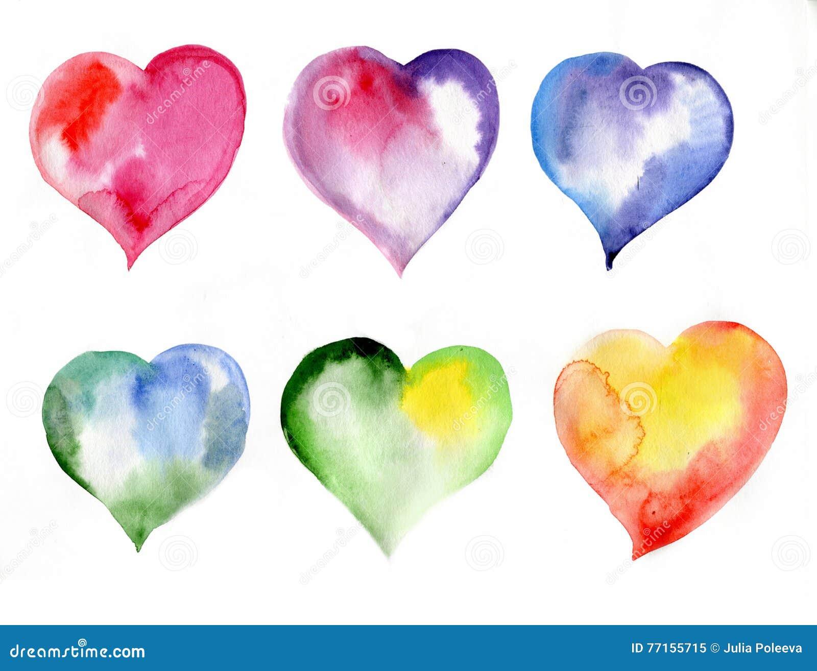 Coeurs colorés, jour de valentines, aquarelle