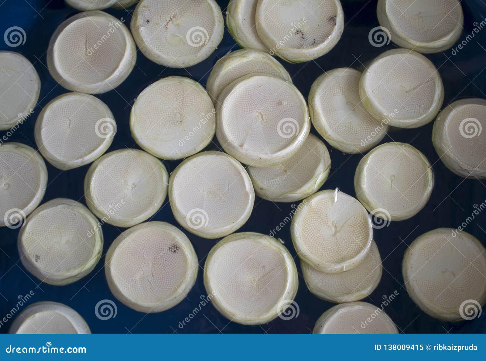 Coeurs d artichauts frais dans la cuvette en plastique bleue à un marché d agriculteurs