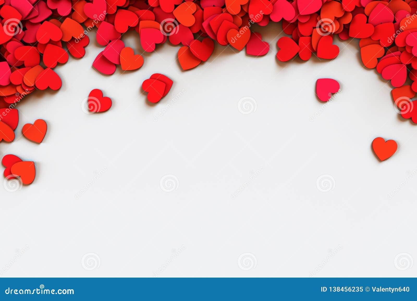 Coeurs de confettis rouges Frontière acculée par dispersion sur le fond blanc illustration du rendu 3d