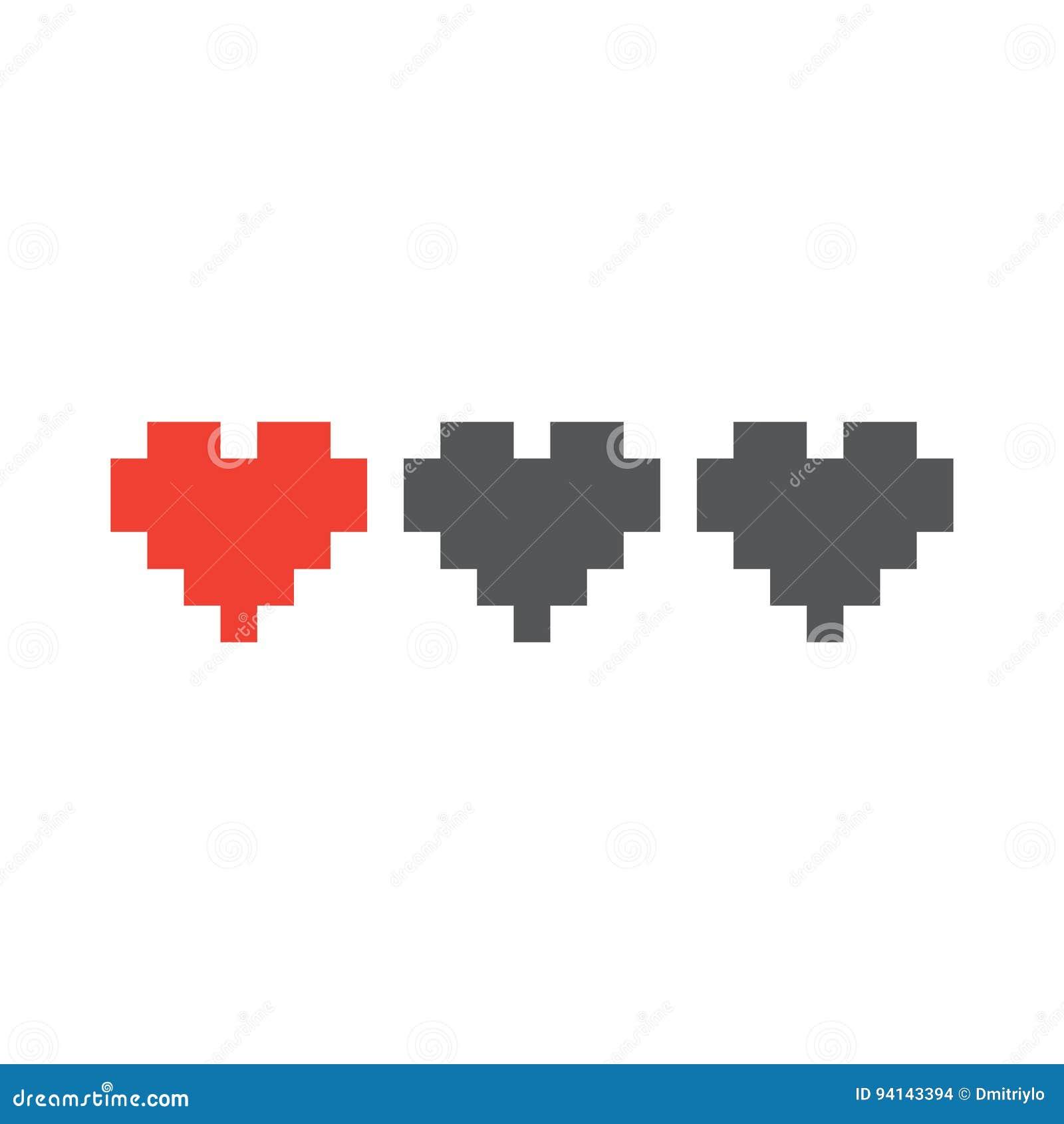 Coeurs de la vie de jeu de style d art de pixel les rétros ont isolé l illustration de vecteur