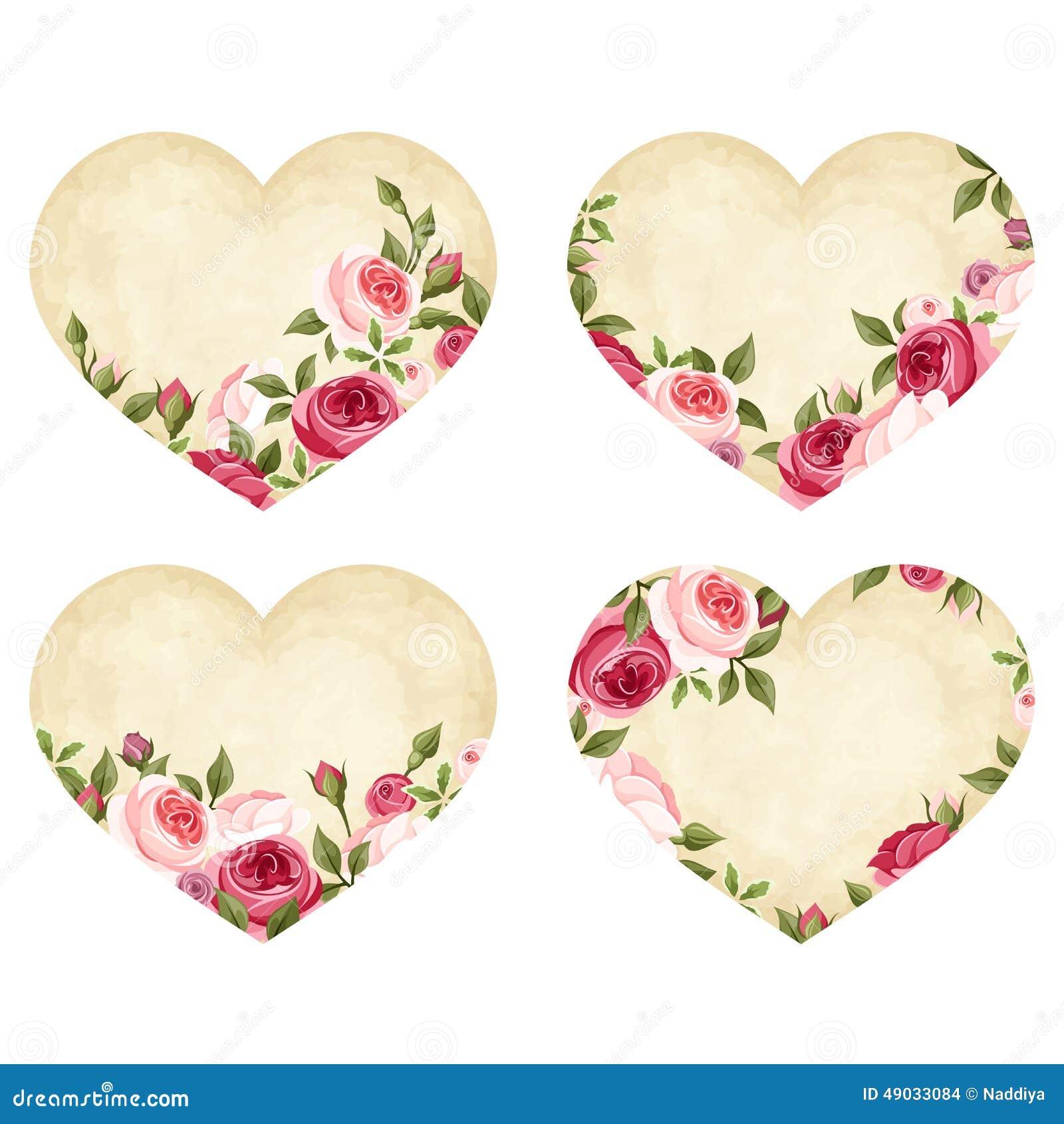 Coeurs de parchemin de saint valentin avec des roses vecteur eps 10 illustration de vecteur - Coeur avec des photos ...