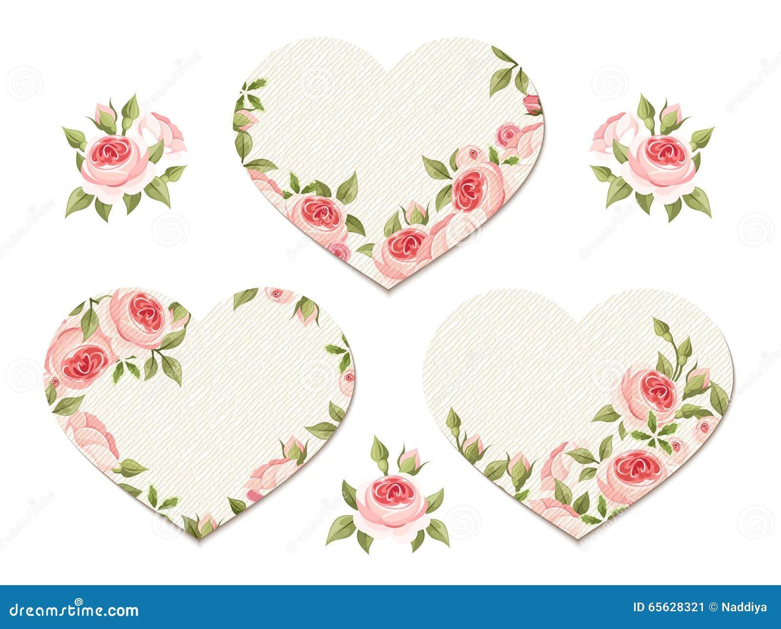 Coeurs de Valentine avec les roses roses Vecteur EPS-10