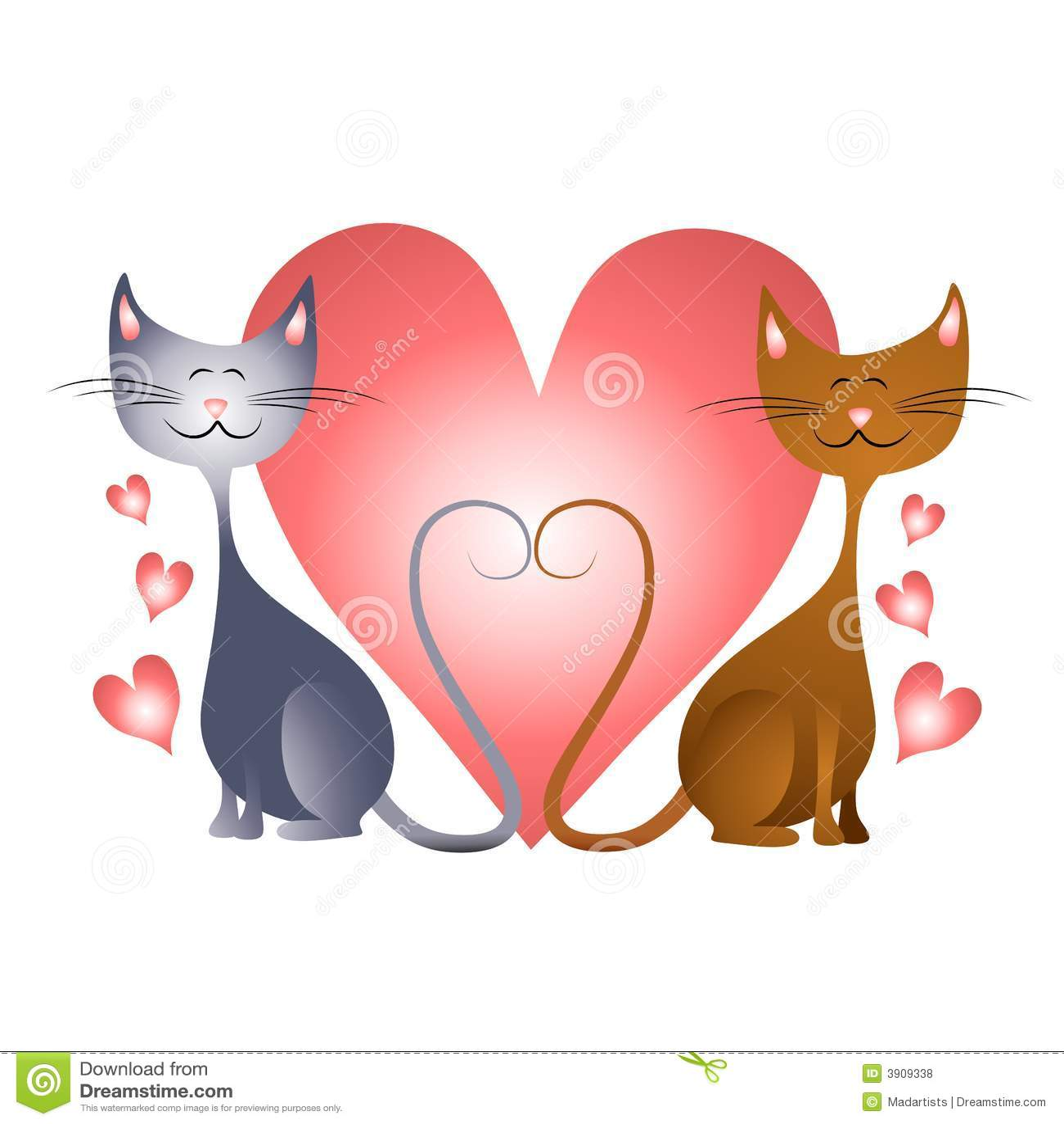 Coeurs du jour de valentine avec des chats dans l 39 amour - Clipart amour ...