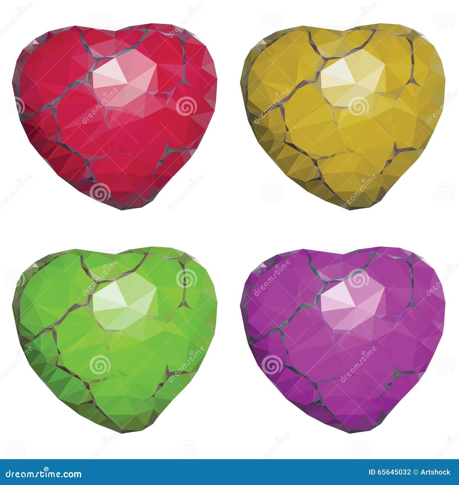 Coeurs en pierre géométriques