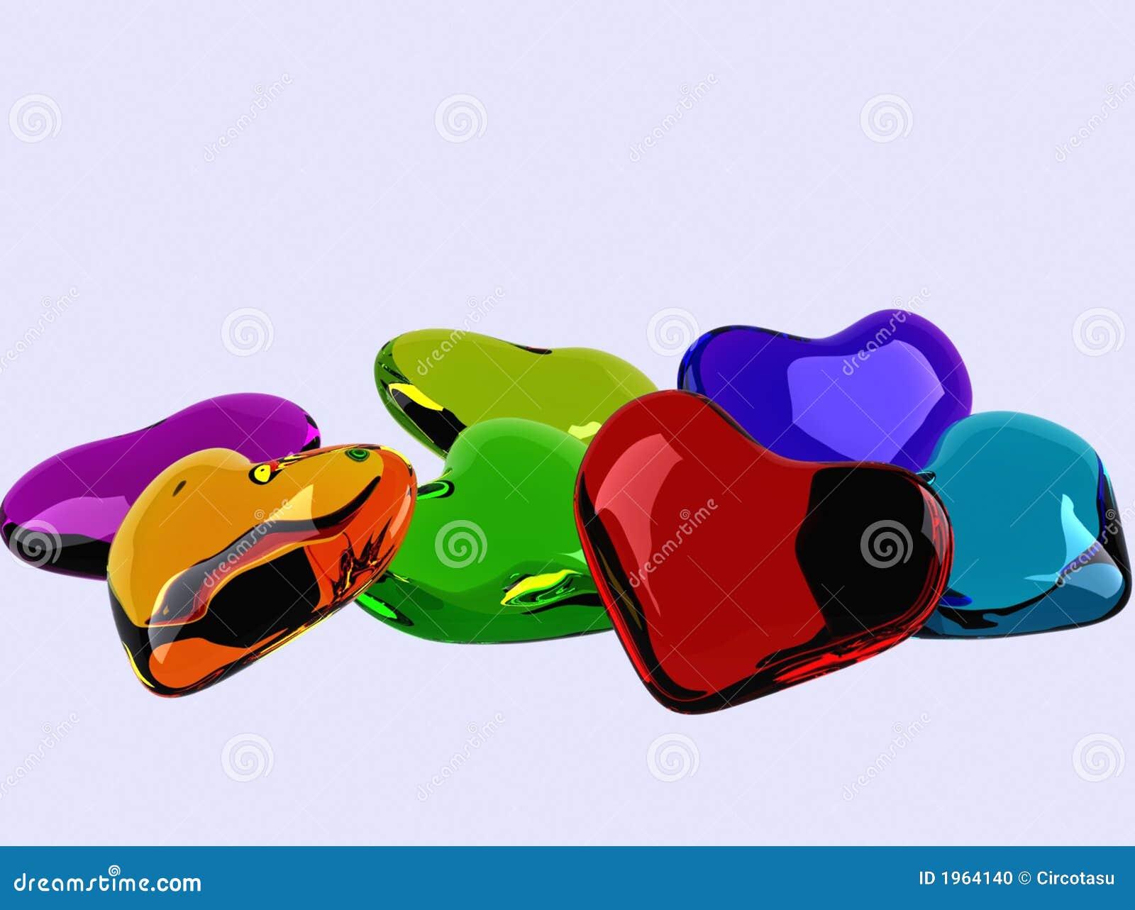 Coeurs en verre colorés