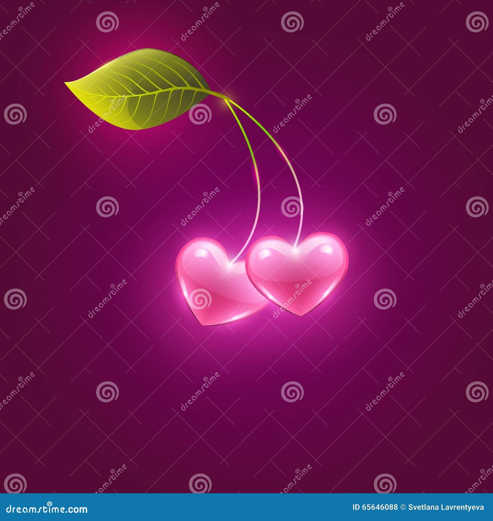 Coeurs et feuille roses de cerise, vecteur