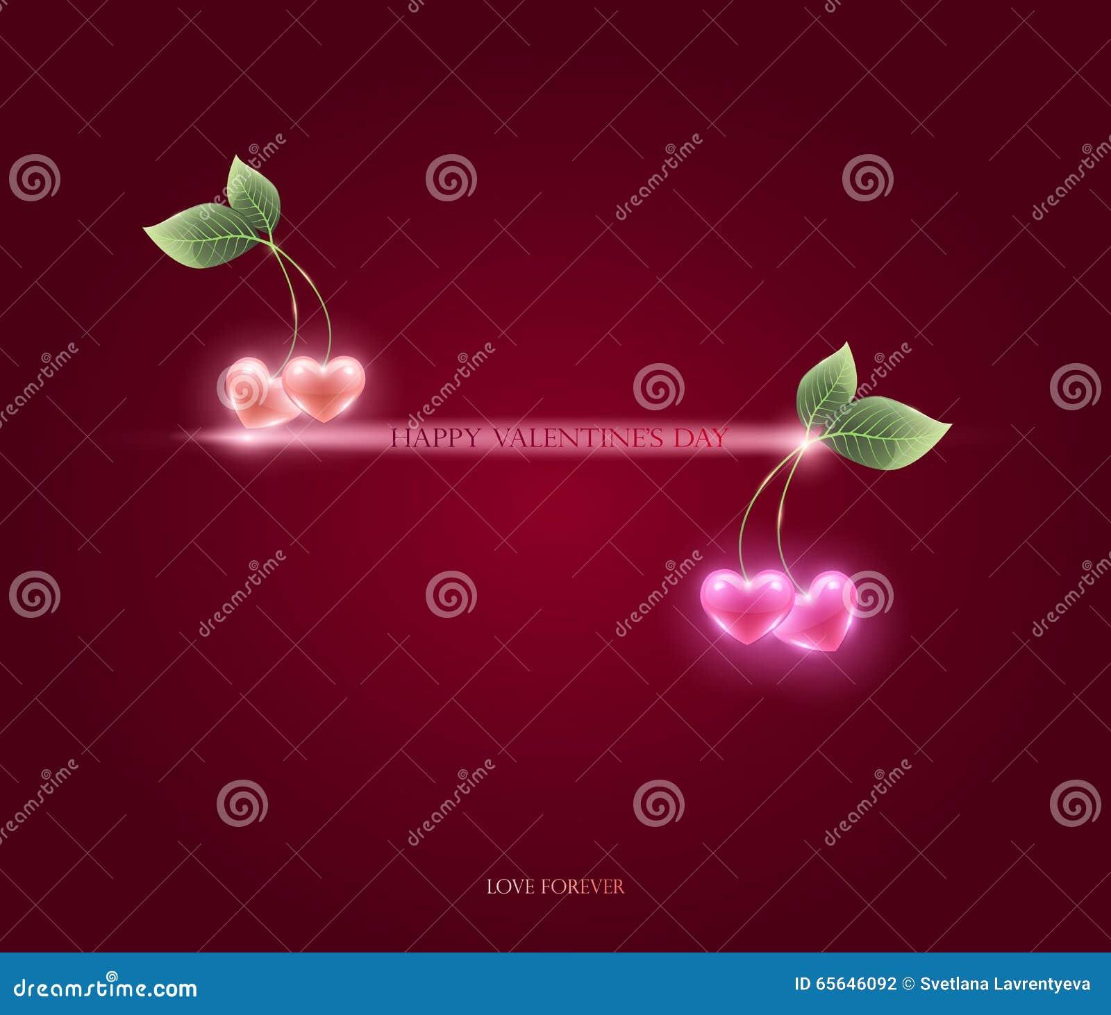 Coeurs et feuille roses de cerise, vecteur félicitations sur Valentin