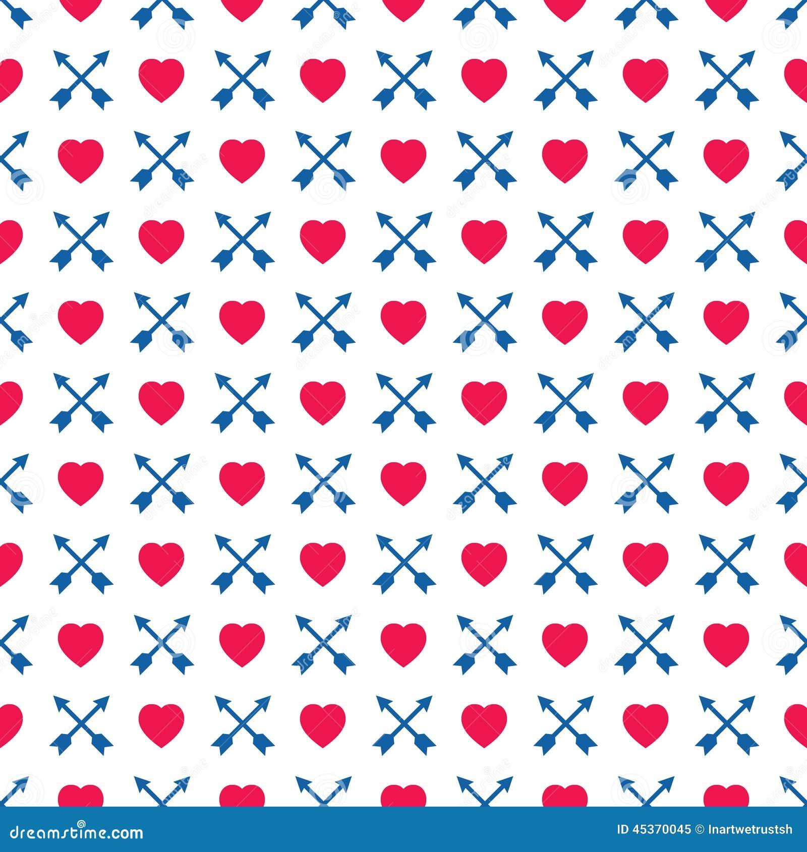 Coeurs et flèches sur le modèle sans couture de fond blanc
