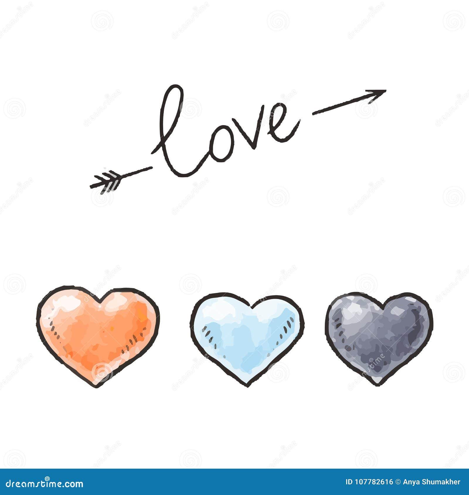 Coeurs et inscription tirés par la main d amour Éléments de conception pour le jour de valentines Illustration de vecteur