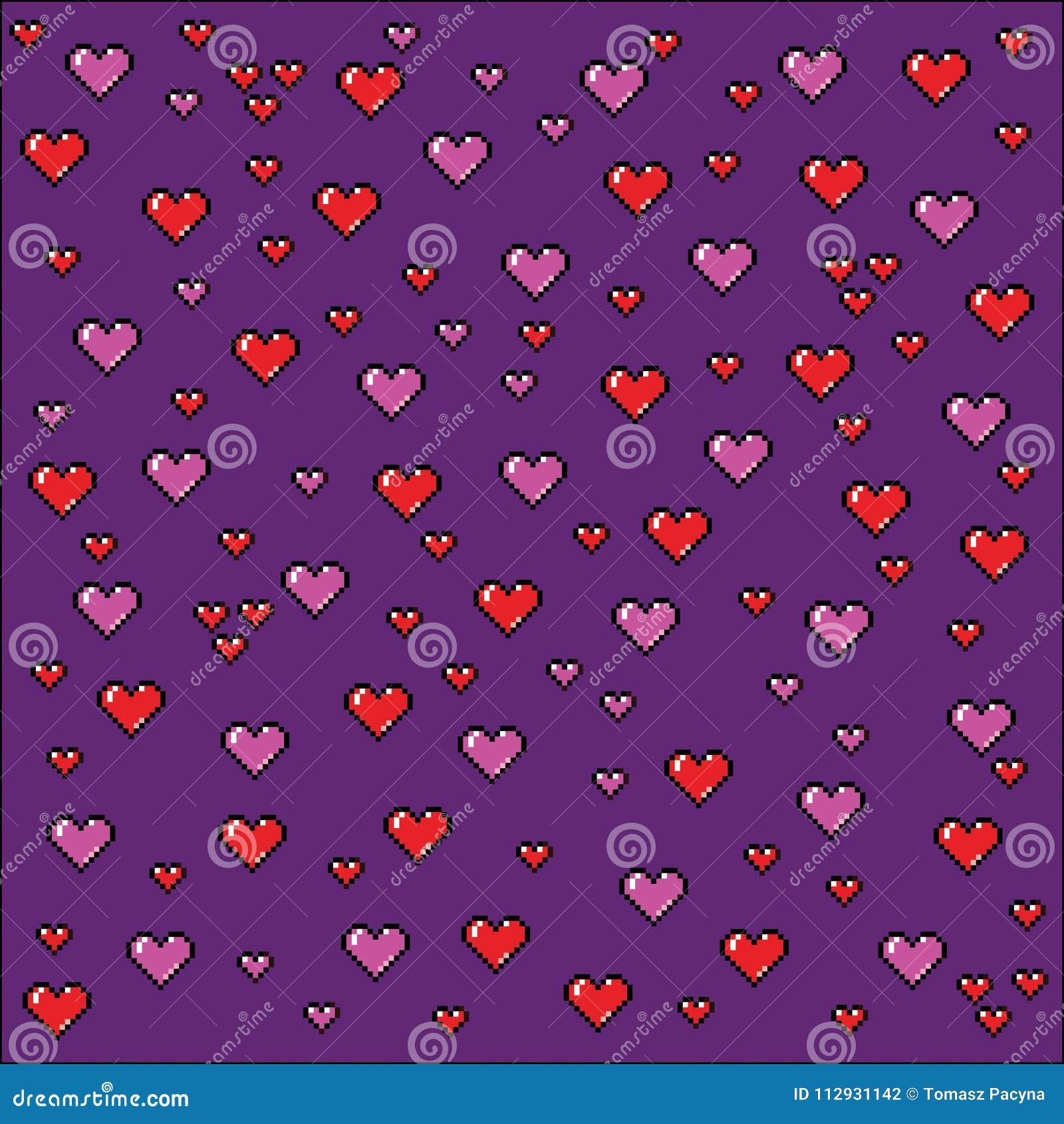 Coeurs fond, illustration d art de pixel de style de jeu vidéo
