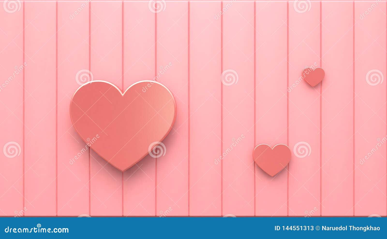Coeurs métalliques roses sur le plancher rose 3d rendant le fond abstrait minimal de concept de valentine d amour