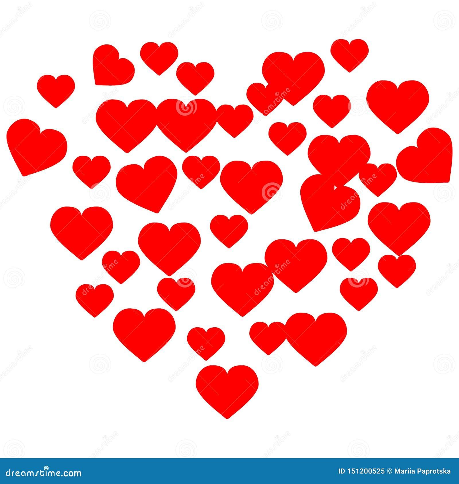 Coeurs tir?s de main Amour rouge de Valentine de coeur pour la conception