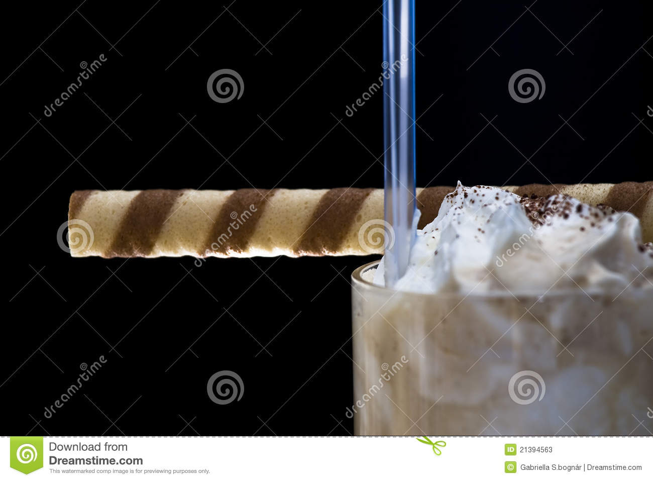 Coffe latte whit whipped cream and tasty roll
