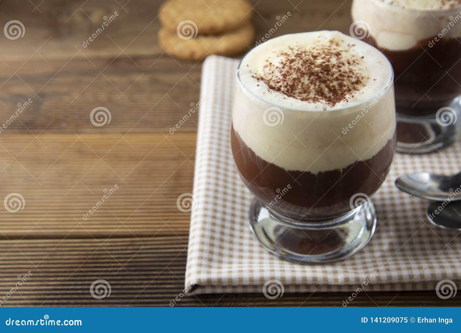 Coffee affogato with vanilla ice cream and espresso. Glass with coffee drink and icecream