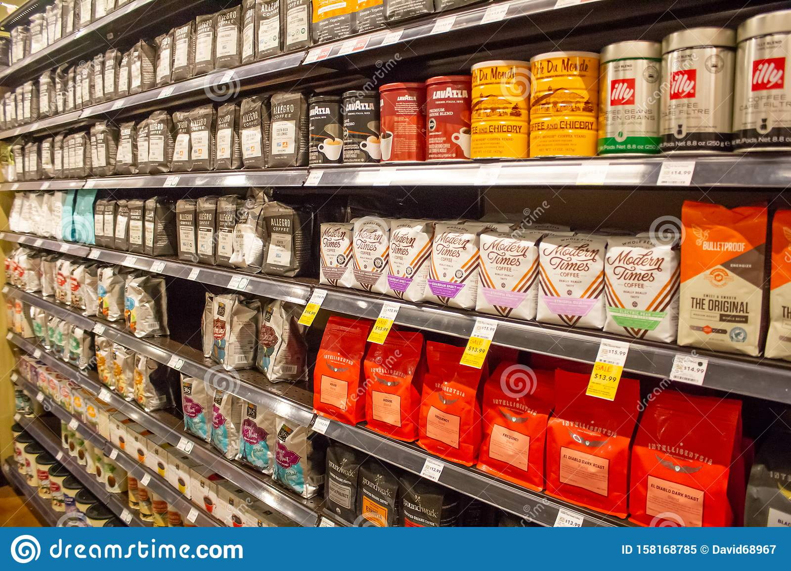 Coffee Aisle At The Store Editorial Image Image Of Convenient 158168785