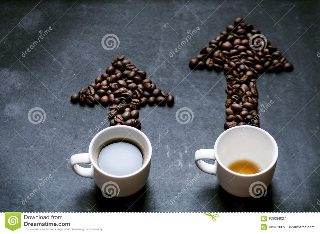 Coffee and arrow from coffee beans. Move up of energy. Trend up of energy. Arrow and graph.