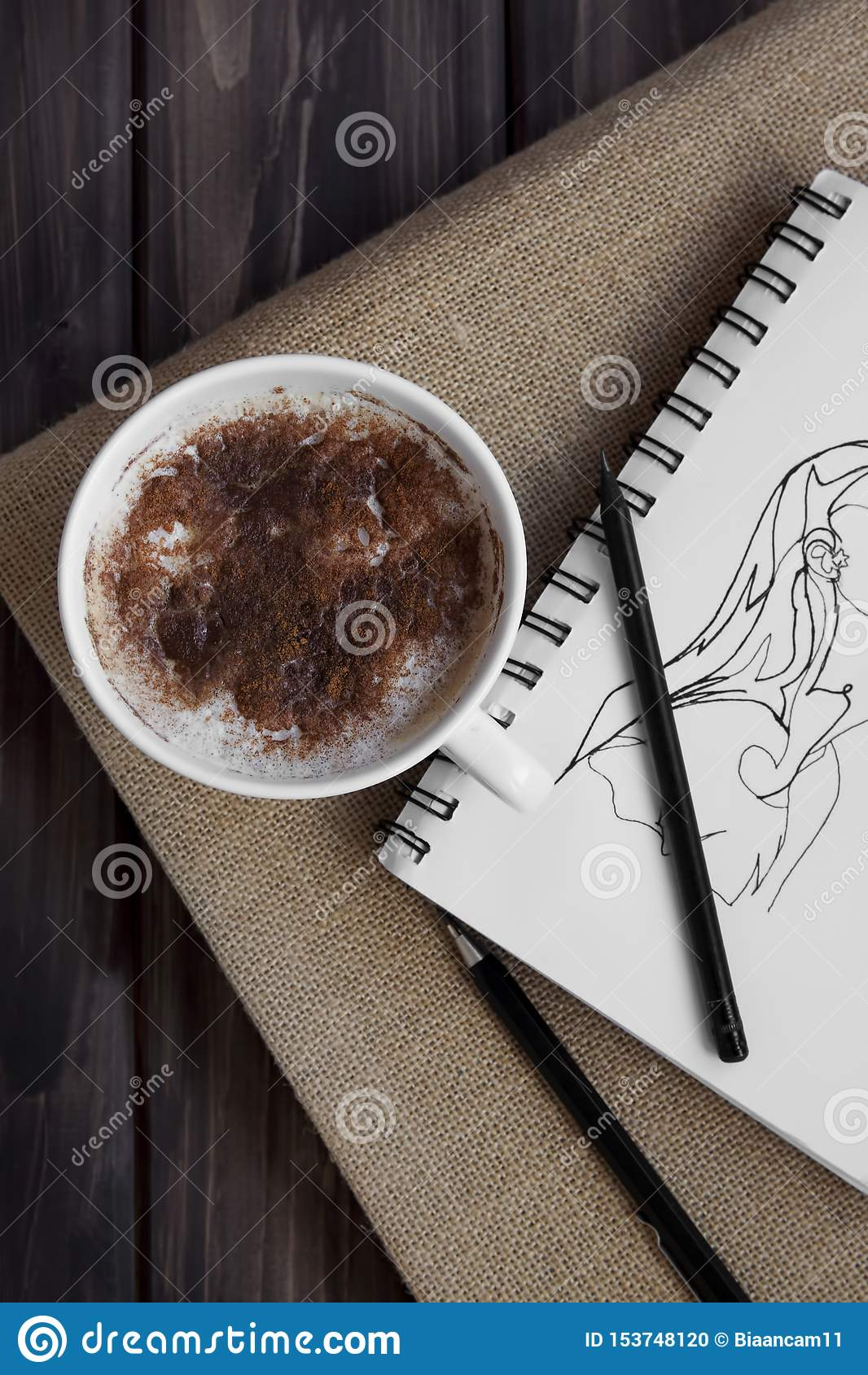 Cinnamon coffee and artsy drawing