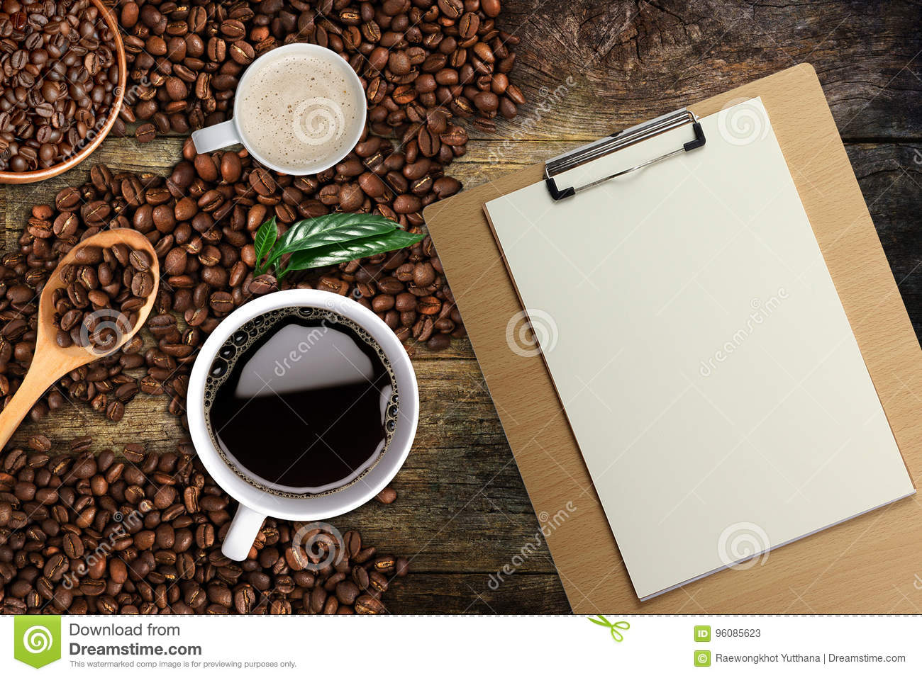 Coffee Background Top View With Copy Space White Cup Of Coffee And