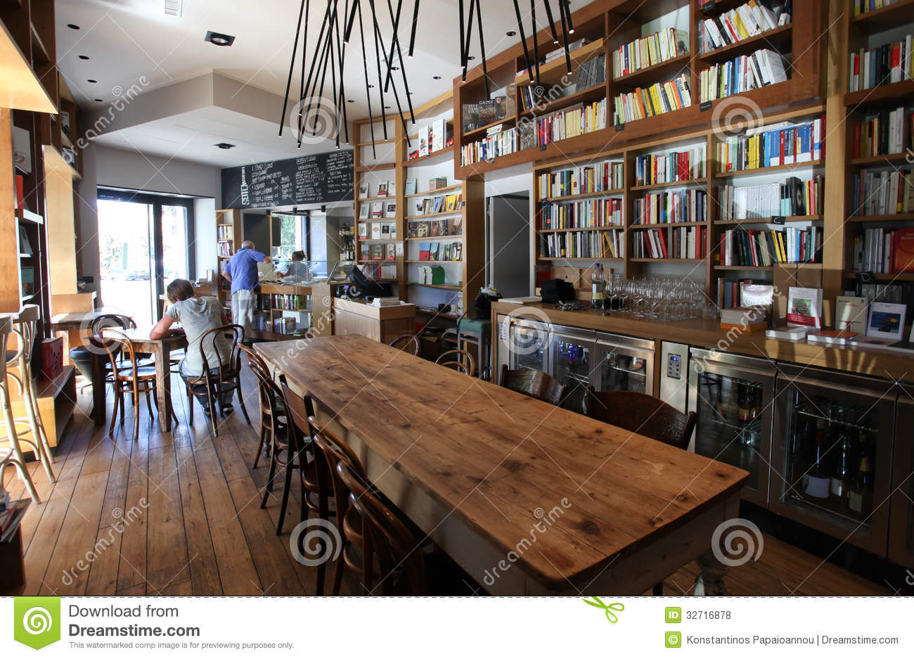Coffee Bar And Bookcase In Rome Editorial Stock Photo - Image: 32716878