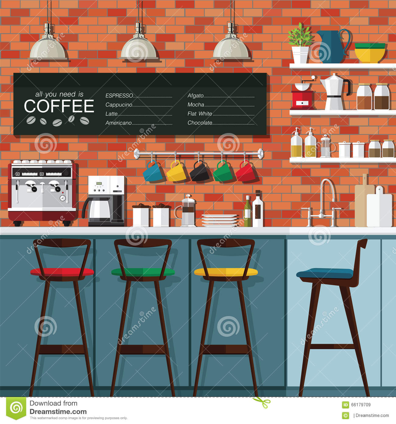 Royalty-Free Vector. Download Coffee Bar Design ...