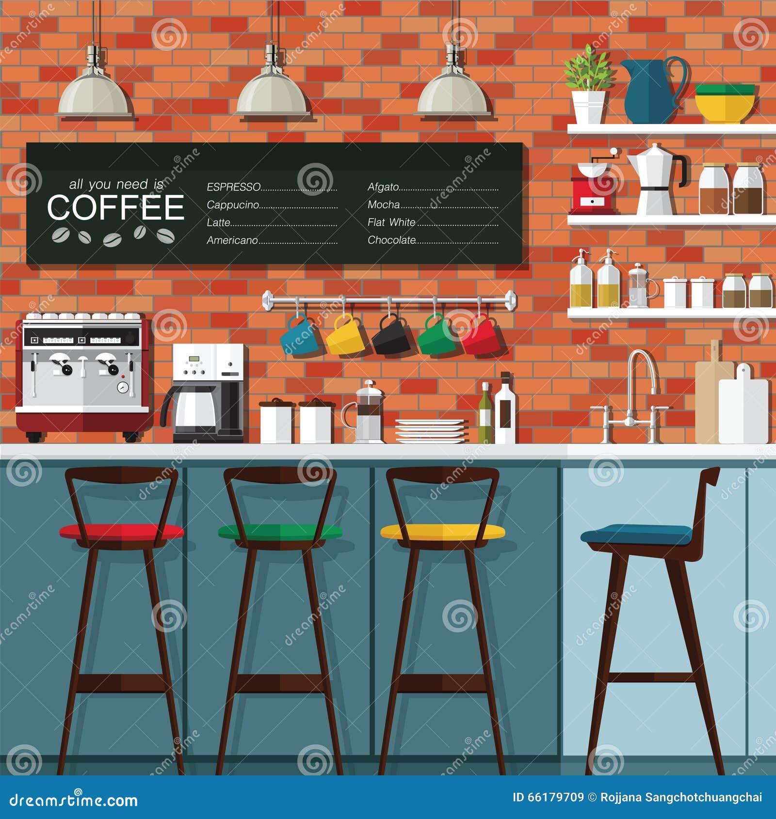 Coffee bar design stock vector illustration of indoor for Modern coffee bar design