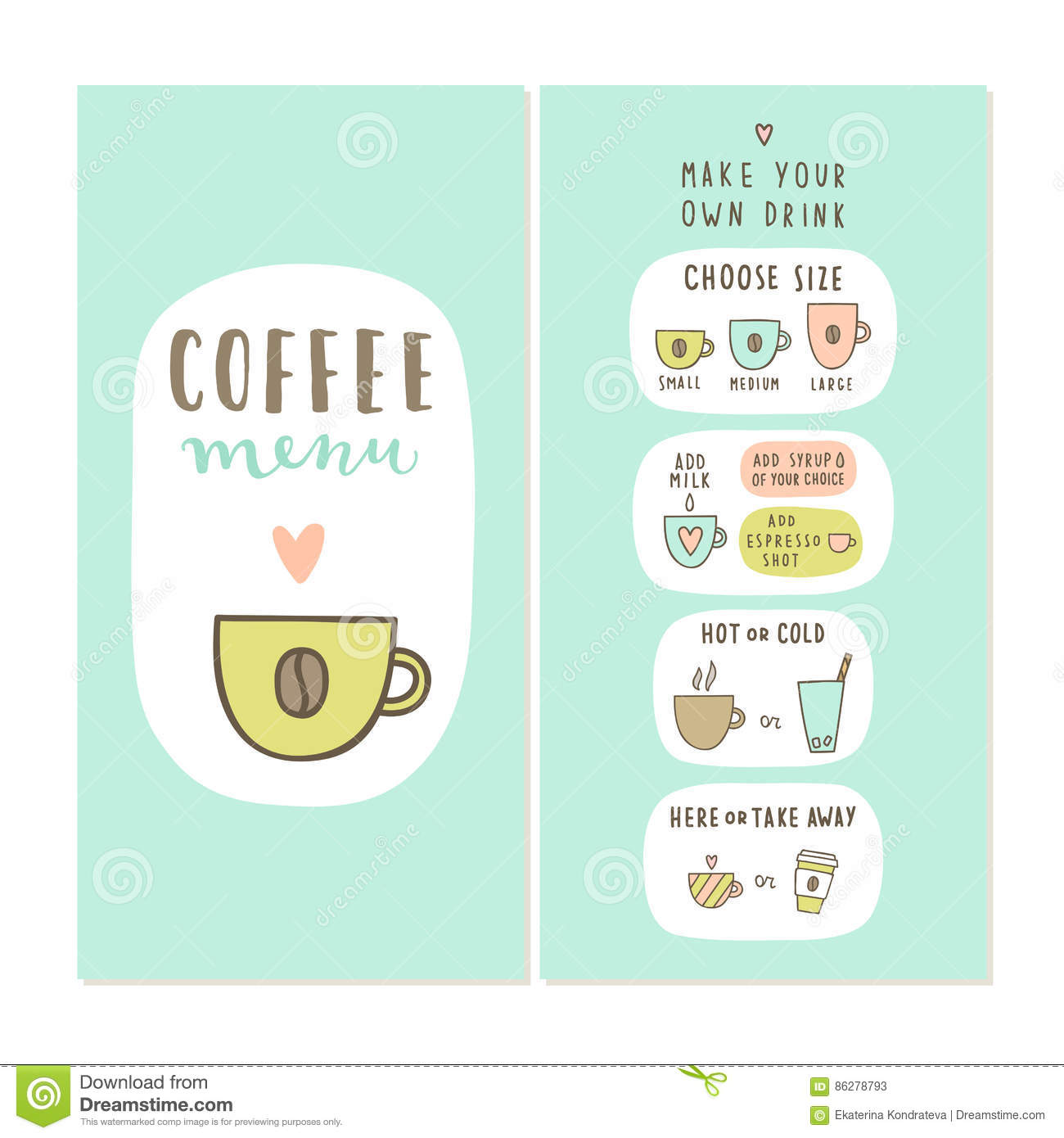 coffee bar menu template stock vector illustration of coffee
