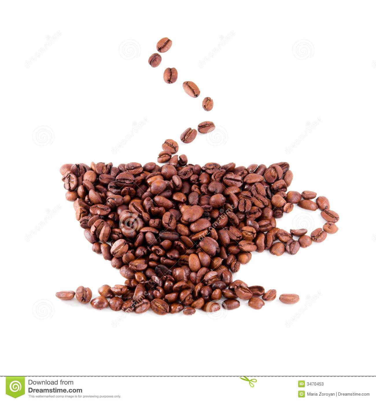 Coffee bean cup stock photos image 3470453 for How to draw a coffee bean
