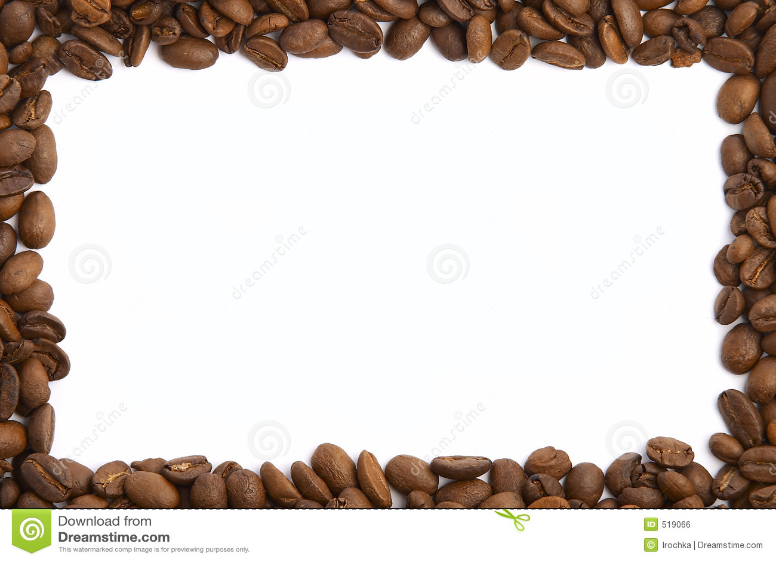 Coffee Bean Frame on white.