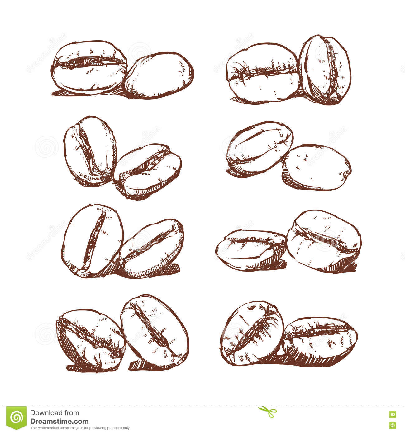 Coffee bean hand drawn vector sketch of coffee beans for How to draw a coffee bean
