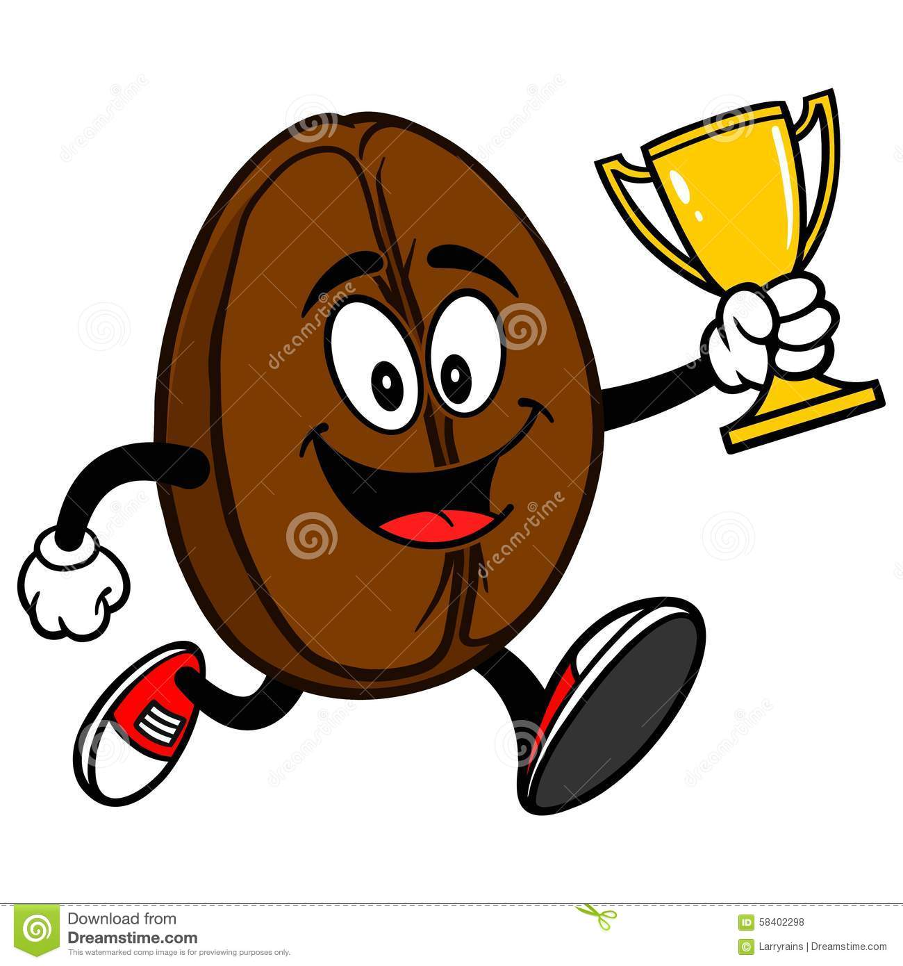 Coffee Bean Running With Trophy Stock Vector - Image: 58402298