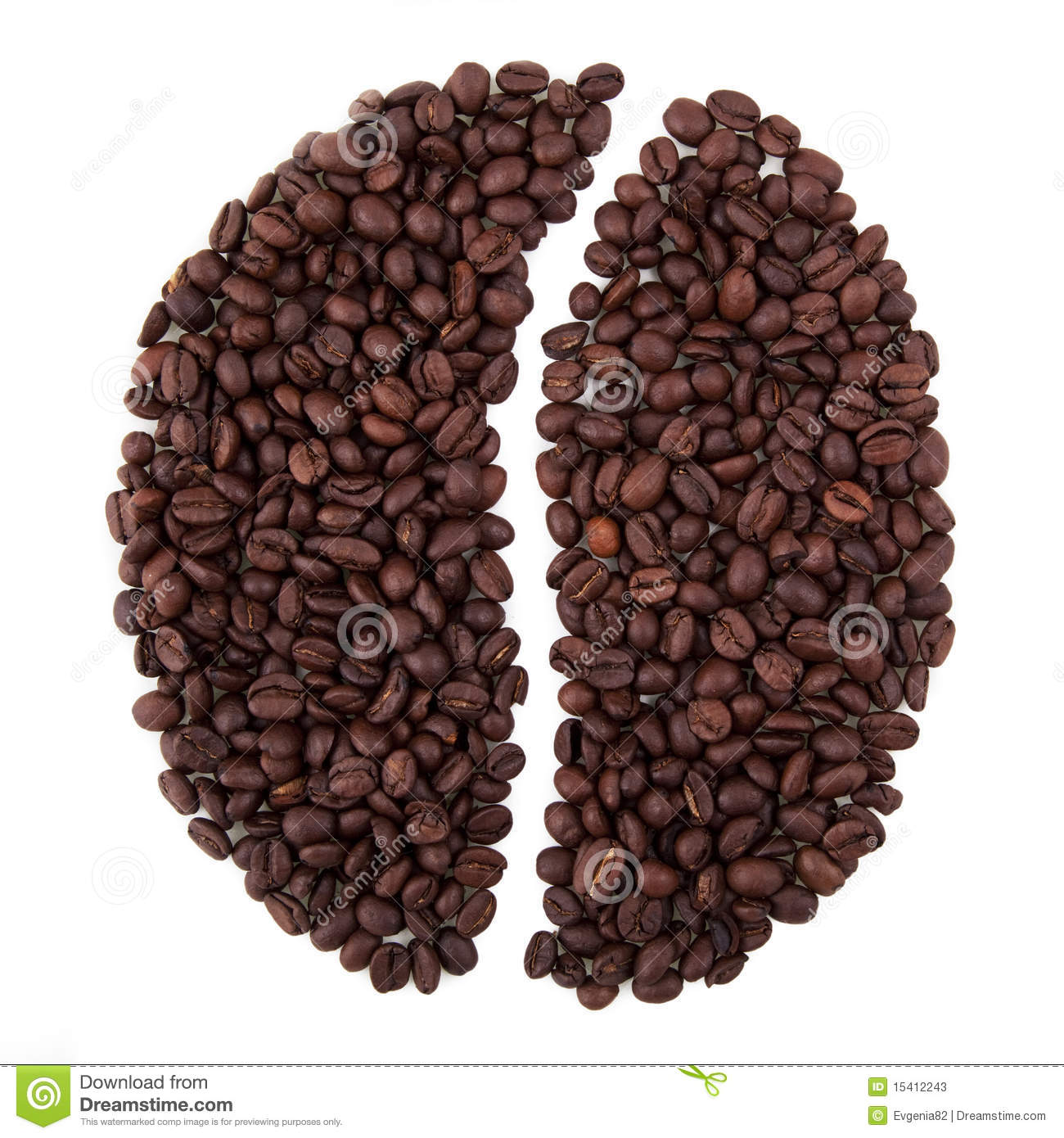 Coffee bean shape made from many coffee beans.