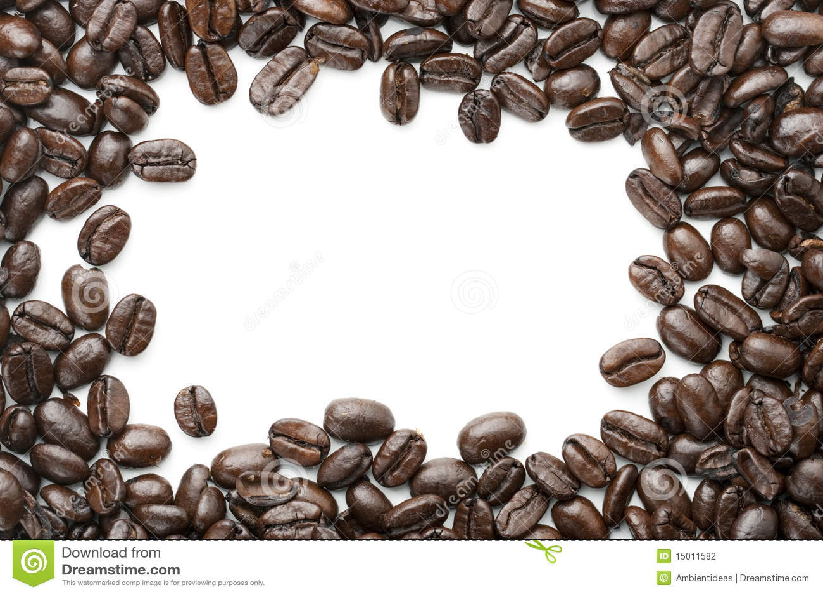 Coffee Bean Border ~ Coffee beans border isolated on white stock photo image