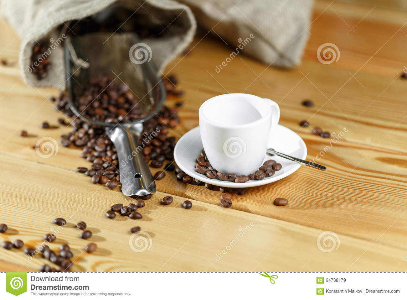 Coffee Beans And Coffee Cup Stock Image - Image of black ...