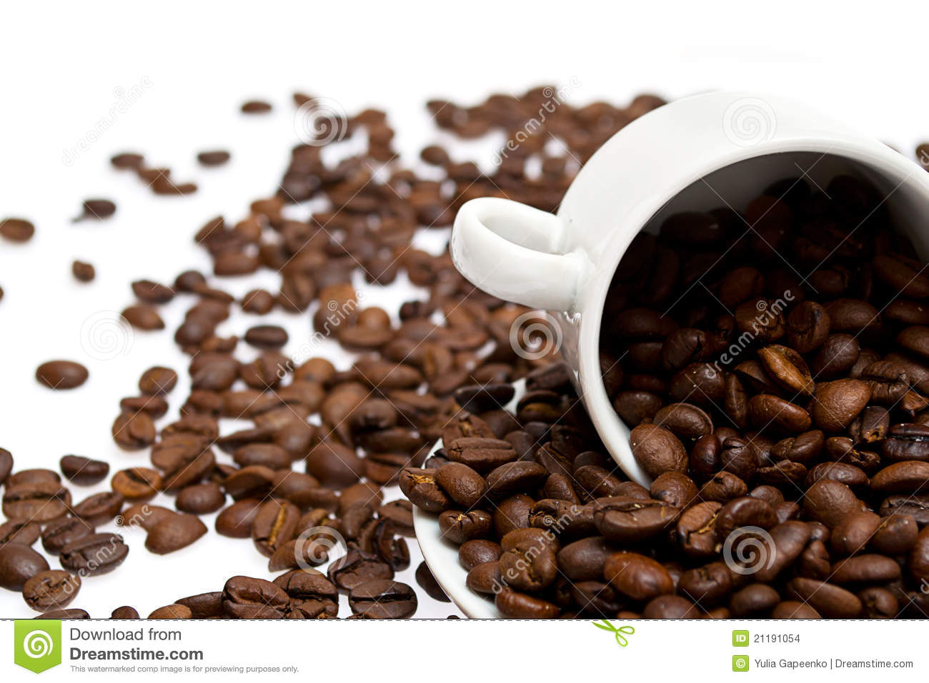Coffee beans in a cup isolated