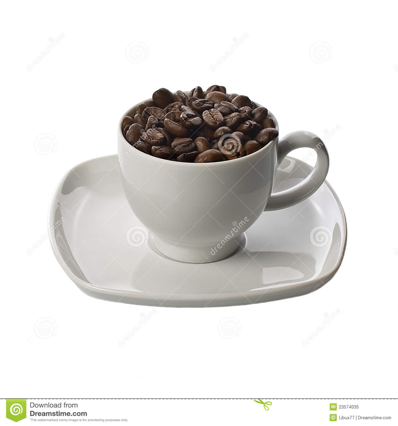 Coffee Beans and Cup with Saucer