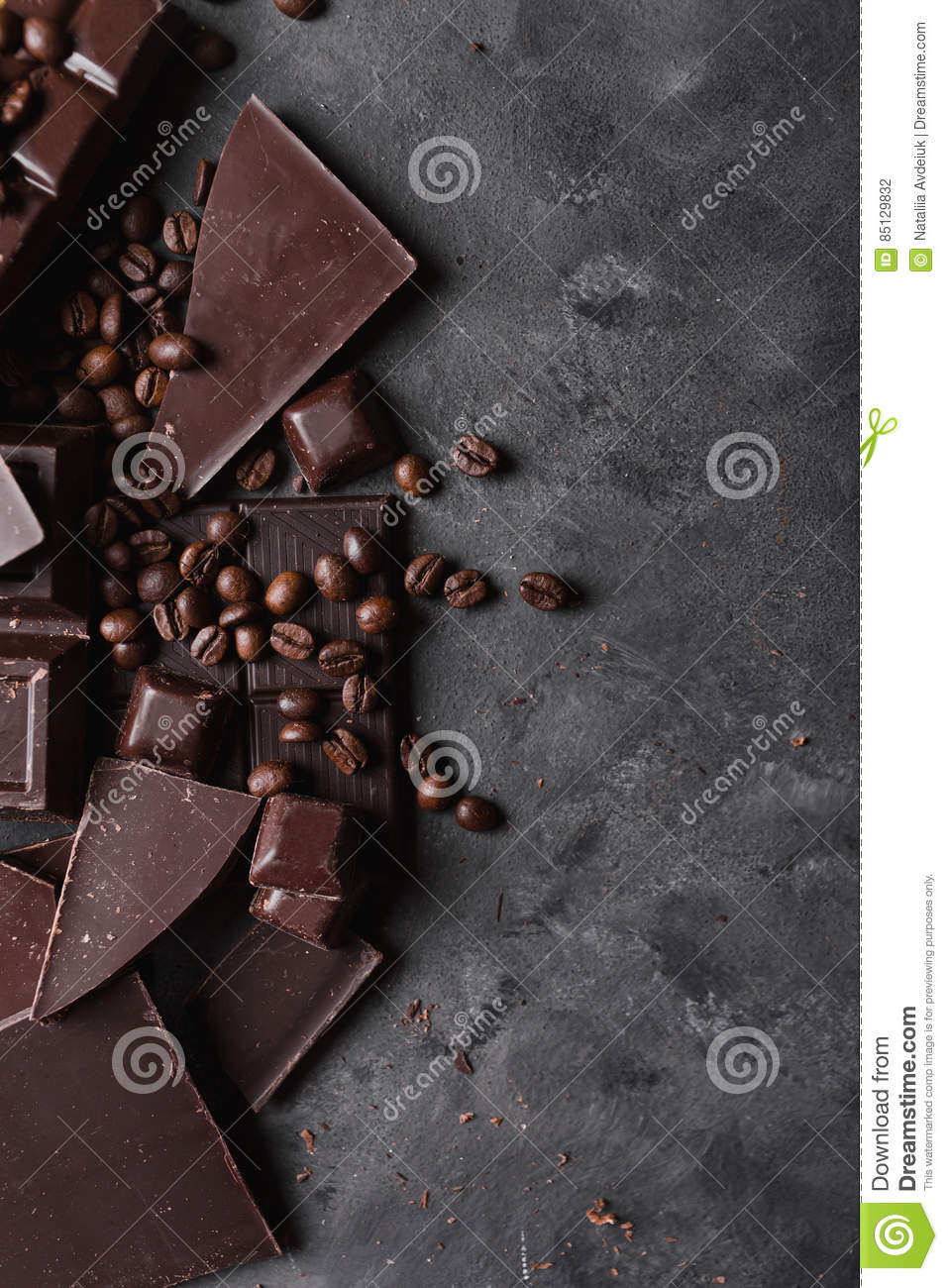 Coffee beans and dark chocolate chocolate bar background with royalty free stock photo buycottarizona Gallery