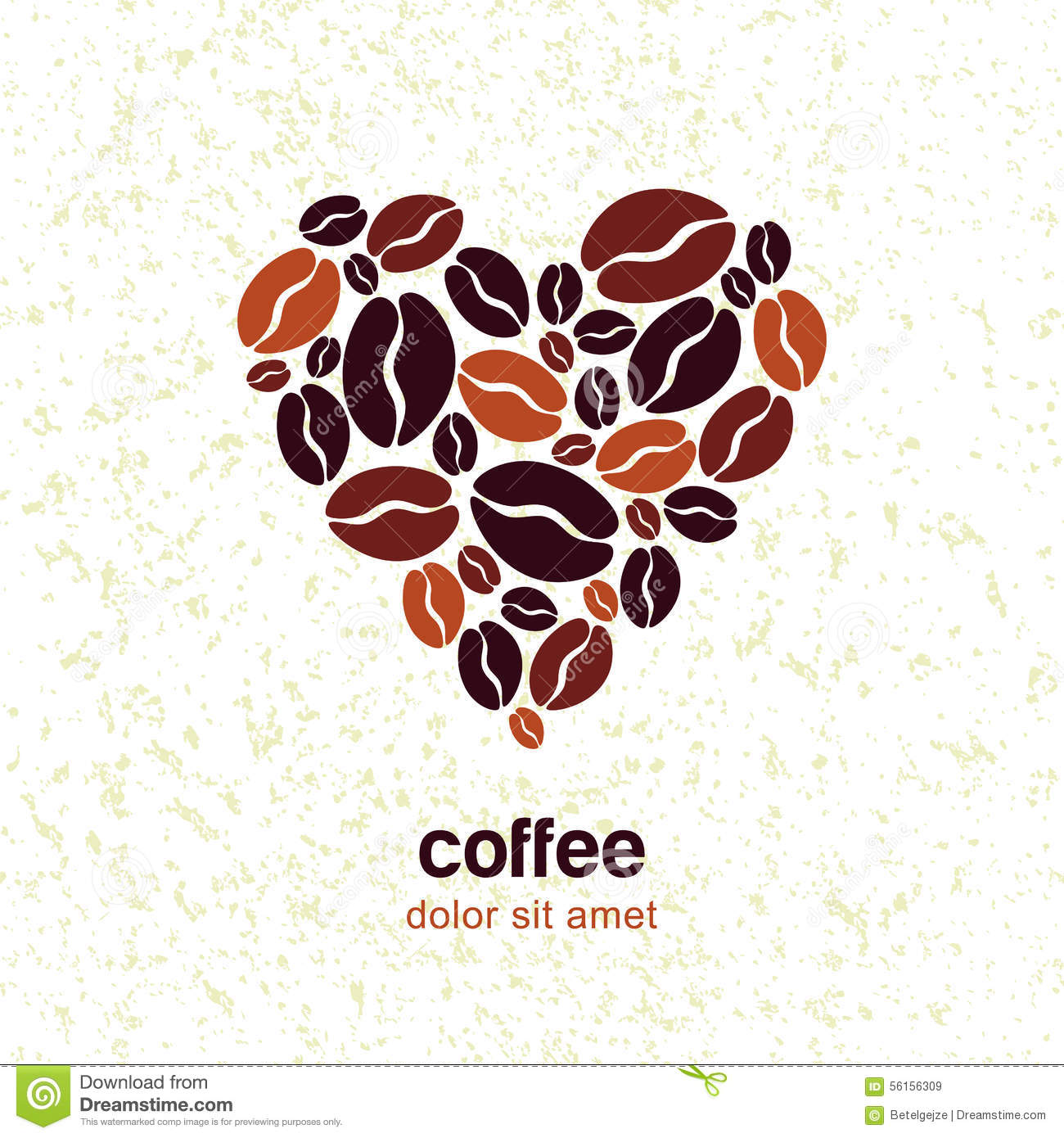 coffee beans in heart shape on grunge texture background
