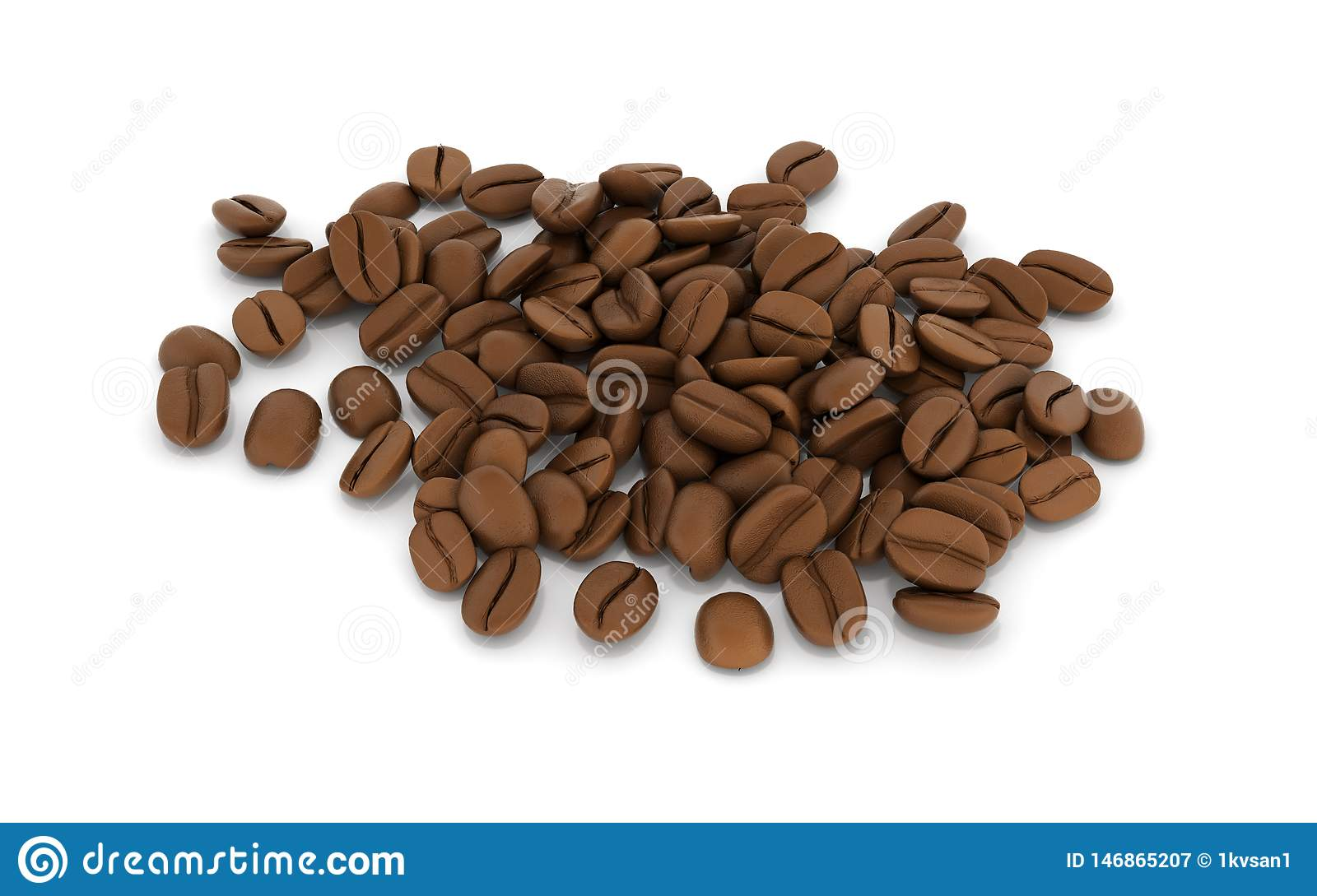Coffee beans isolated on white background 3d