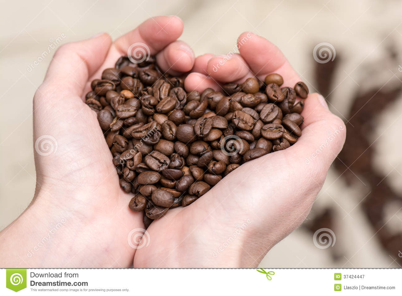 Download Coffee Beans In Love Heart Shape Stock Image - Image of hands, romantic: 37424447