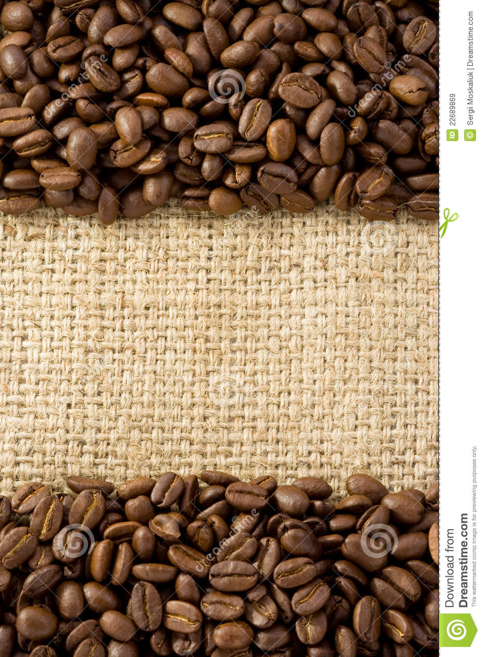 coffee beans on sack burlap royalty free stock images image 22689869. Black Bedroom Furniture Sets. Home Design Ideas