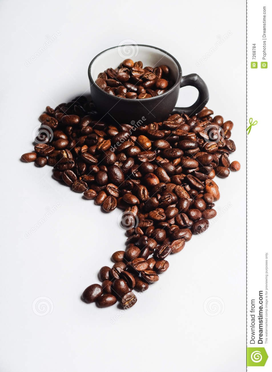 Coffee Beans Shaped Like South America And Black C Stock