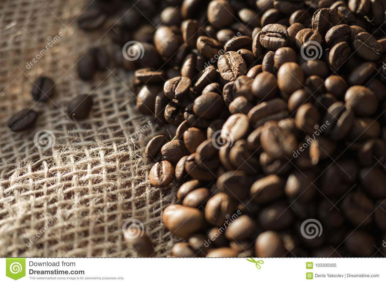 Coffee Beans On A Table With Burlap. Stock Image - Image ...