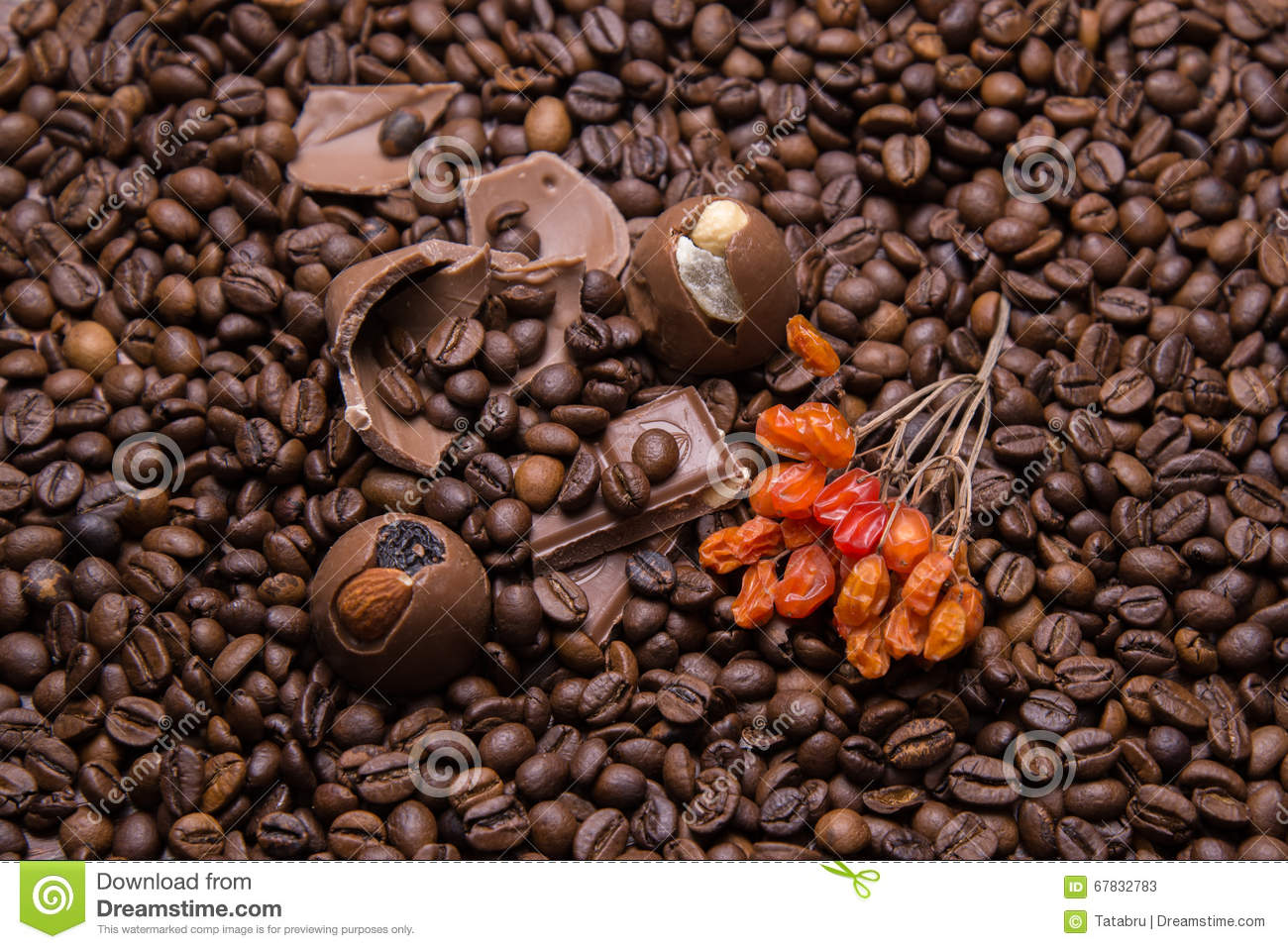 Coffee beans wallpaper with chocolate and viburnum berrie. Image