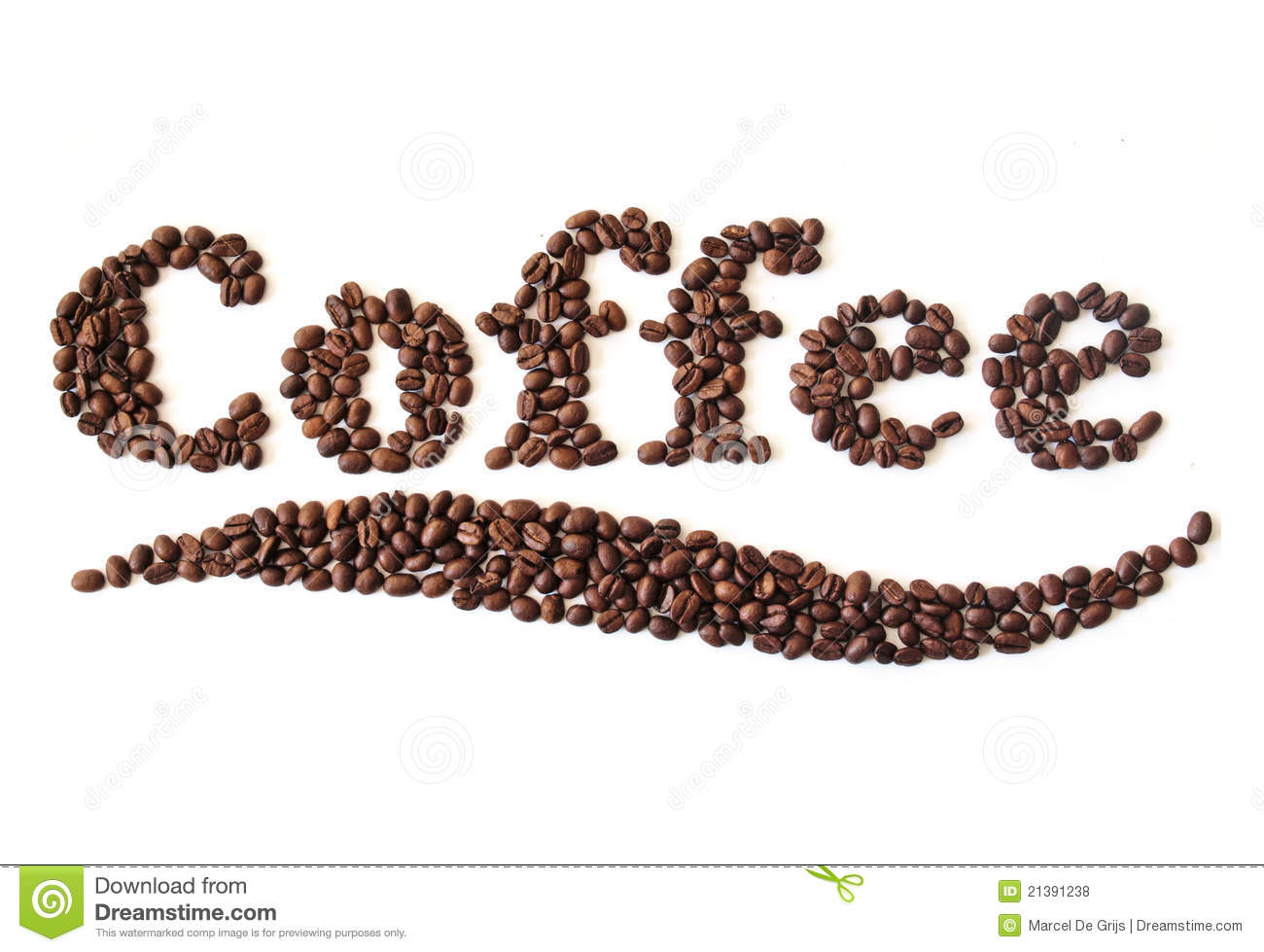 Coffee Beans Written Royalty Free Stock Photos - Image: 21391238
