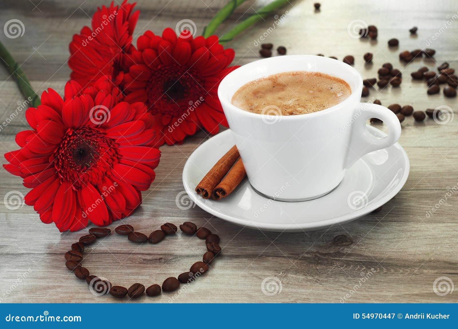 Coffee And Beautiful Flowers Stock Image Image Of Gerbera Closeup