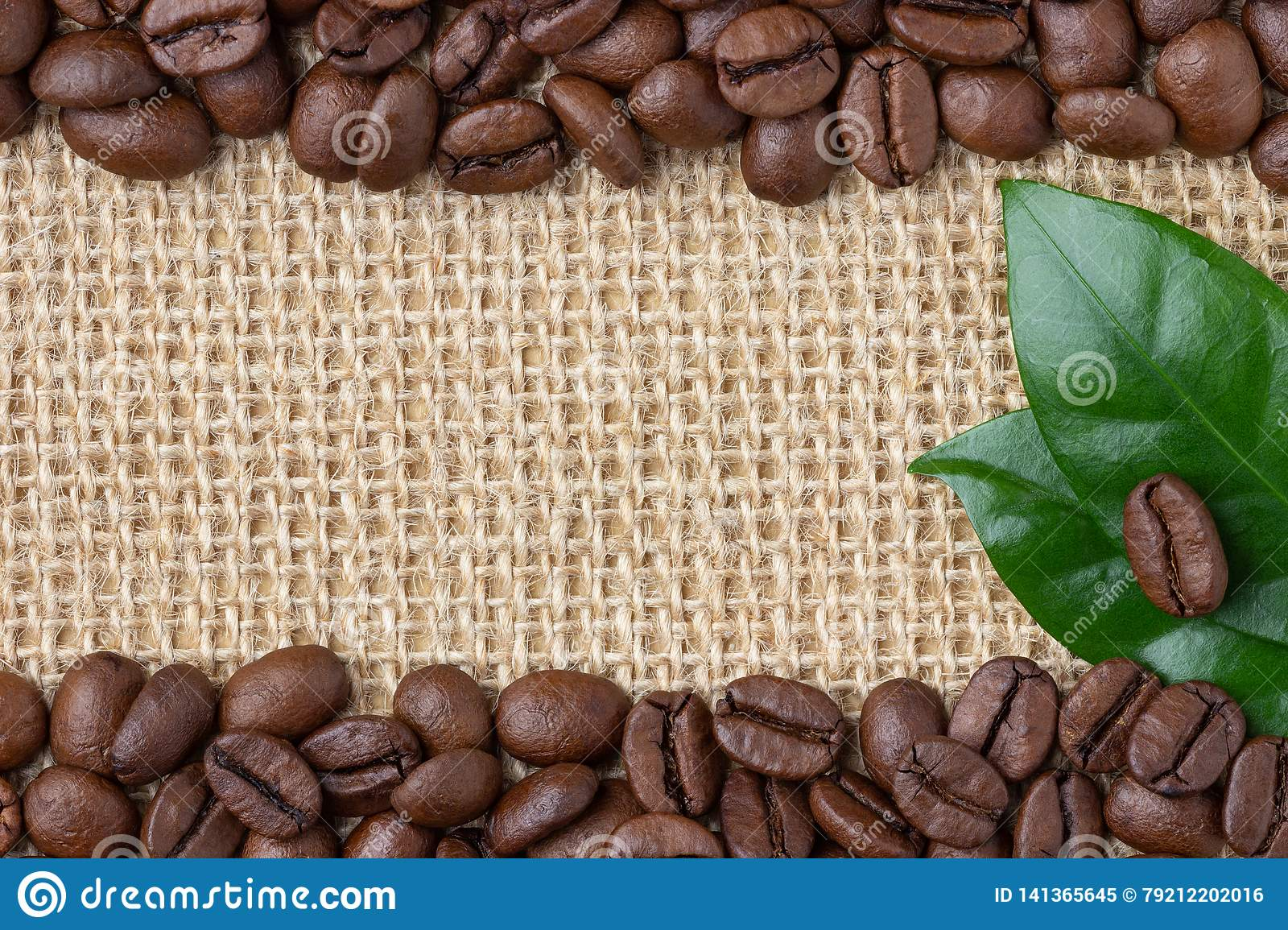 Coffee Border. Beans and leaf over burlap background.