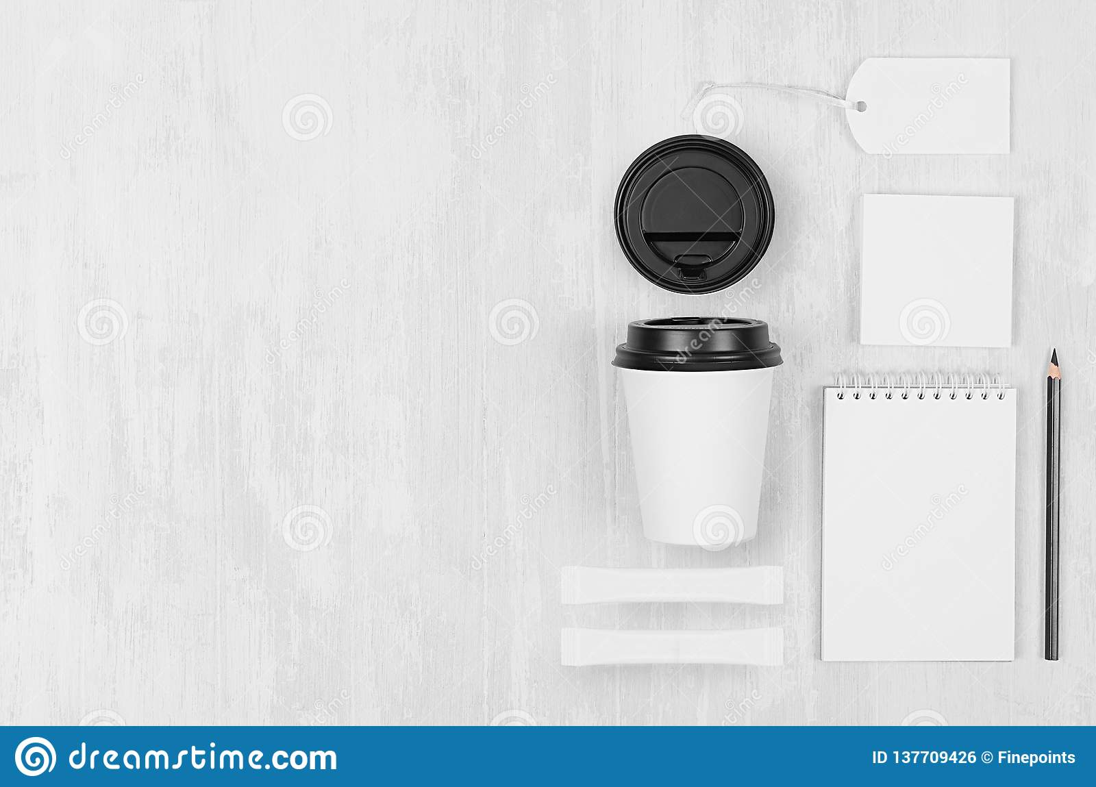 Coffee branding identity mockup in light modern style - white paper cup, blank notebook, card, label, stationery, sugar.