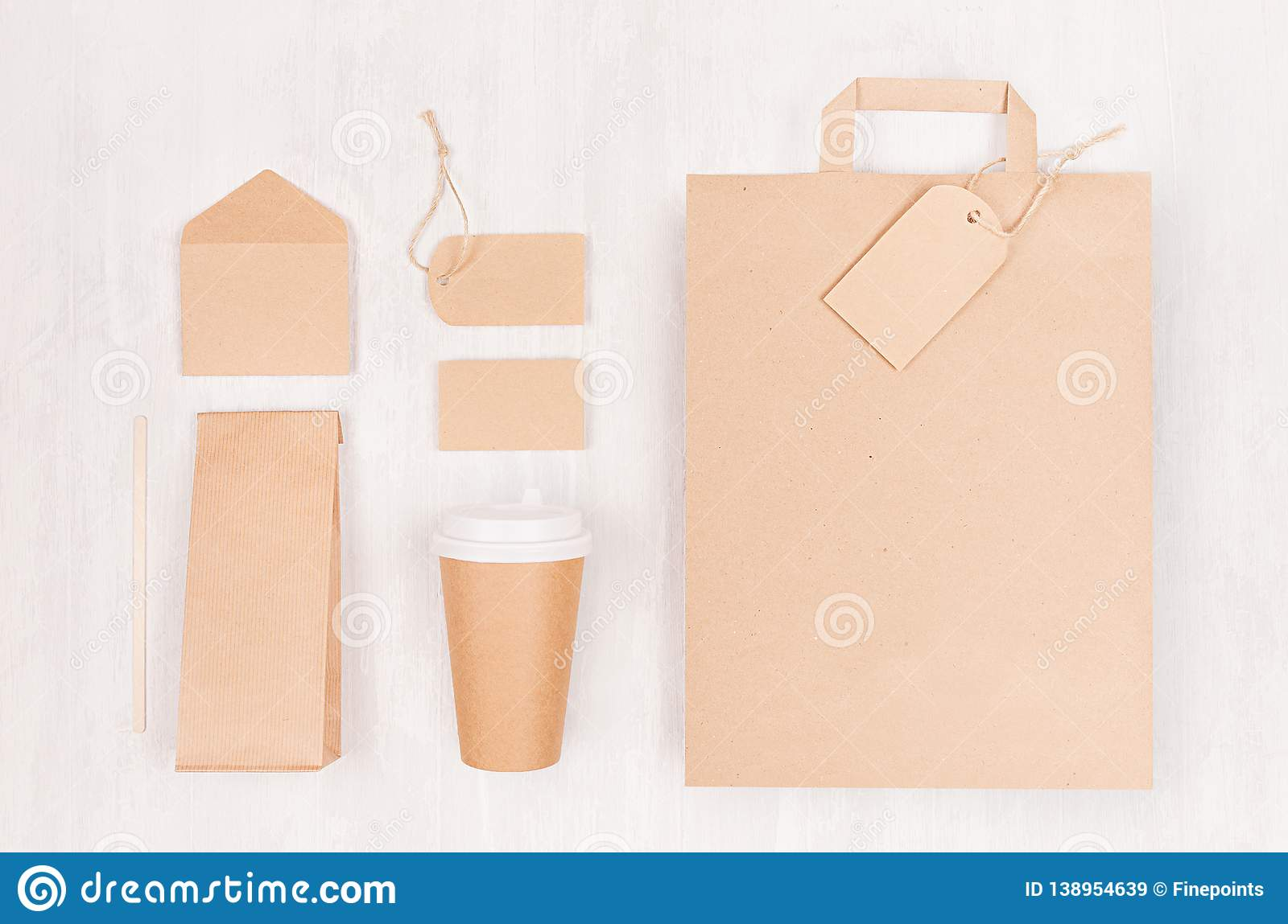 Coffee branding identity mockup - set of brown paper cup with blank bag, label, card, envelope, packet on white wood board.
