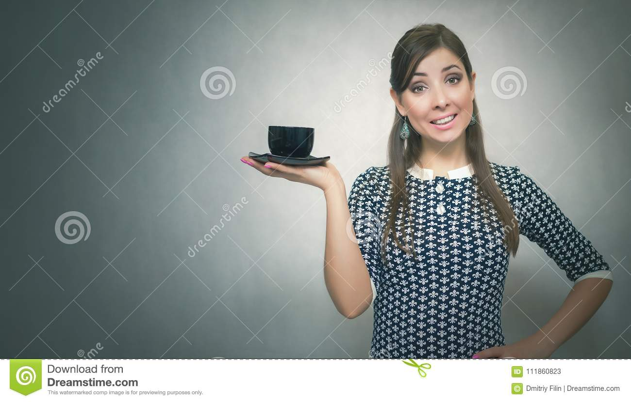 Coffee Break. Coffee Time. Lunch Break. Girl With Cup Of ...